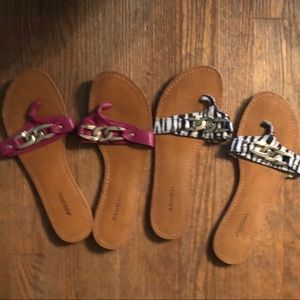 2 pair chain embellished sandals
